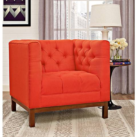 Panache Atomic Red Fabric Tufted Armchair