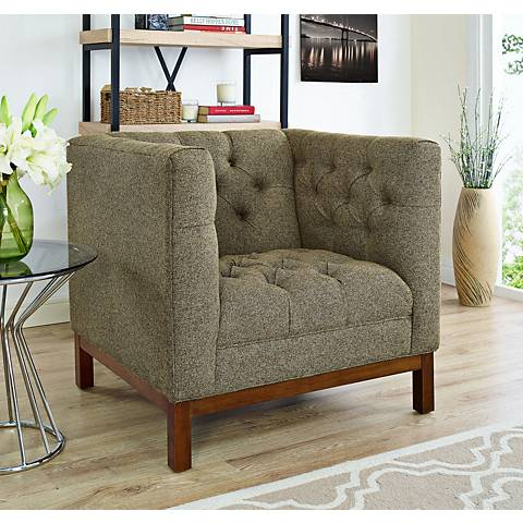 Panache Oatmeal Fabric Tufted Armchair