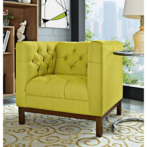 Panache Wheatgrass Fabric Tufted Armchair