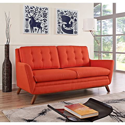 Beguile Atomic Red Fabric Tufted Loveseat