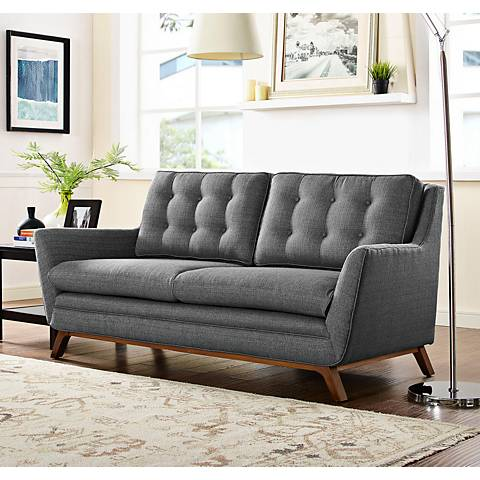 Beguile Gray Fabric Tufted Loveseat