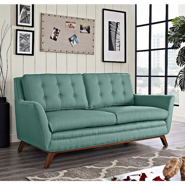 "Beguile 71 1/2"" Wide Laguna Fabric Tufted Loveseat"