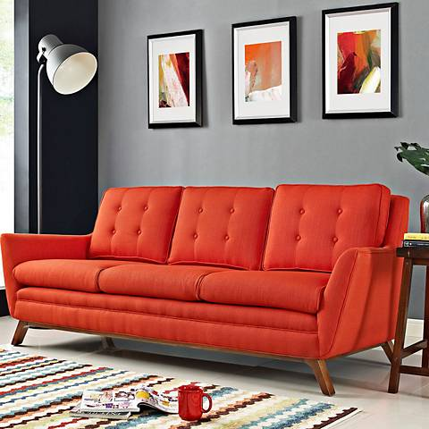 "Beguile Atomic Red 83 1/2"" Wide Fabric Tufted Sofa"