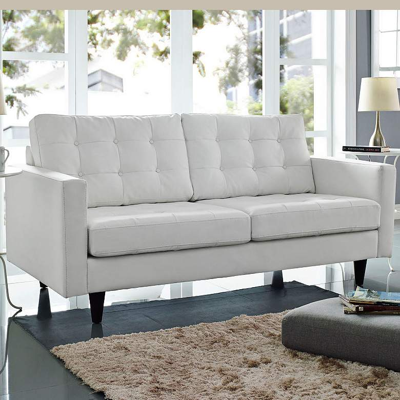 Empress White Bonded Leather Tufted Loveseat