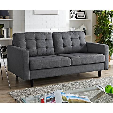Empress Gray Fabric Tufted Loveseat