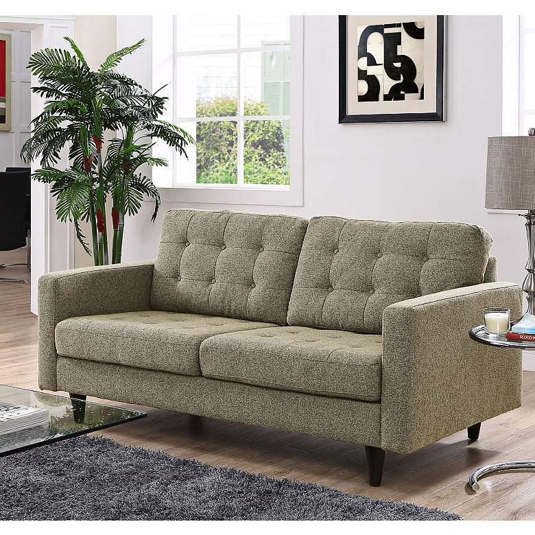 Empress Oatmeal Fabric Tufted Loveseat