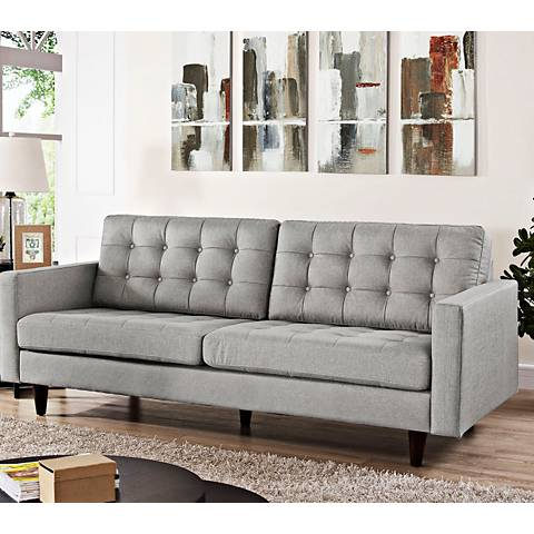 "Empress Light Gray 84 1/2"" Wide Fabric Tufted Sofa"