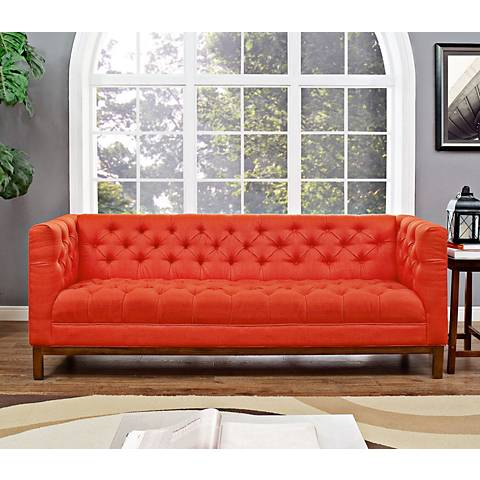 "Panache Atomic Red 84"" Wide Fabric Tufted Sofa"