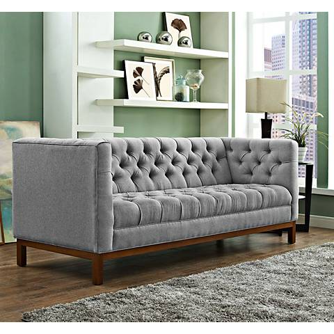 "Panache Expectation 84"" Wide Gray Fabric Tufted Sofa"