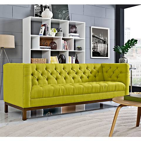 "Panache Wheatgrass 84"" Wide Fabric Tufted Sofa"