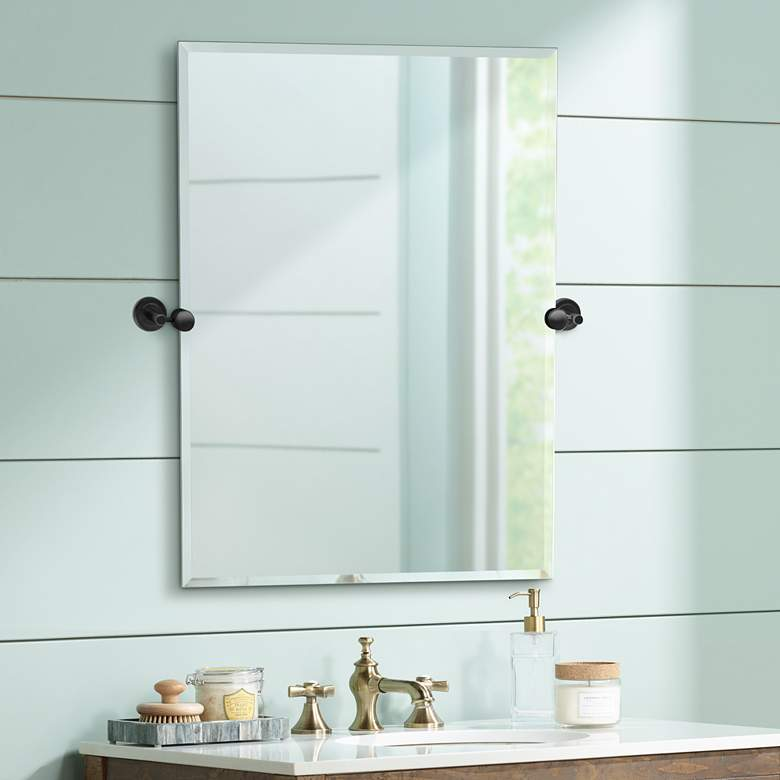 "Latitude II Black 27 1/2"" x 31 1/2"" Rectangular Wall Mirror"
