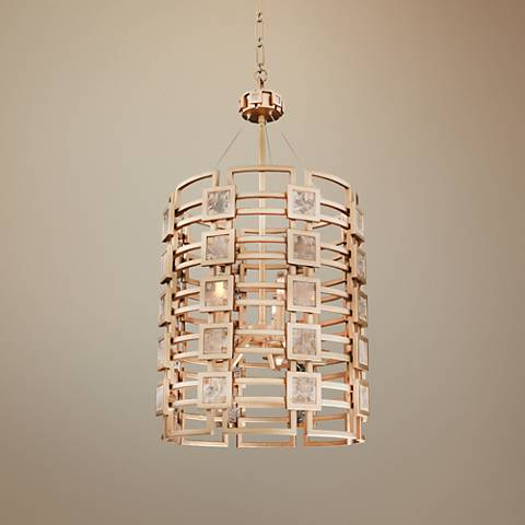 "Metropolis 19"" Wide Modern Gold Lattice-Cage Pendant Light"