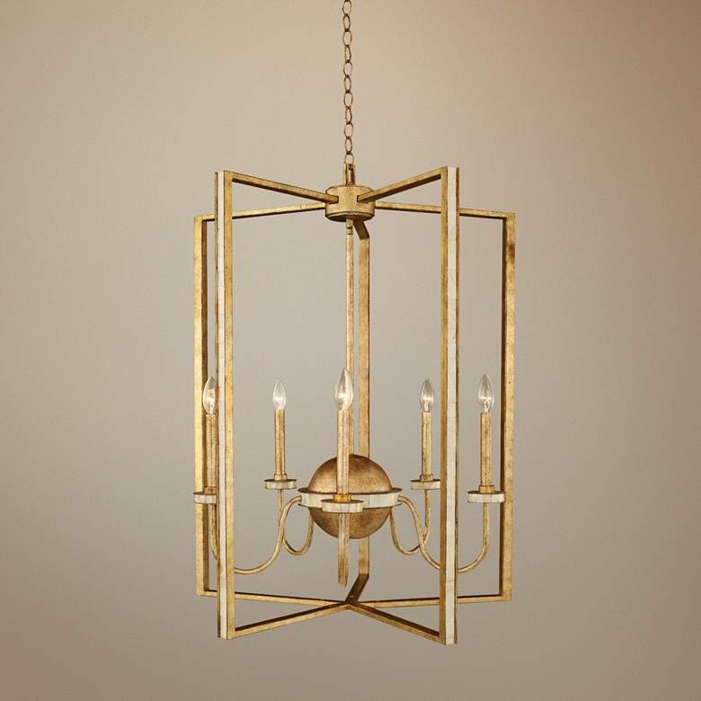 "LaSalle 28""W Distressed Honey Gold 5-Light Foyer Chandelier"