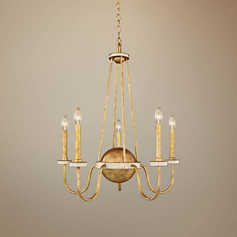 "LaSalle 26"" Wide Distressed Honey Gold 5-Light Chandelier"