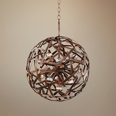 "Ambassador 20"" Wide Copper Recycled Steel Sphere Pendant"