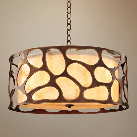 "Gramercy 24""W Copper Patina Laser-Cut Drum Pendant Light"
