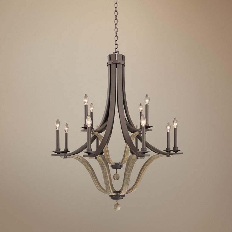 "Lansing 38""-W Satin Bronze 12-Light Forged Iron Chandelier"