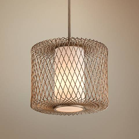 "Hideaway 20 1/2"" Wide Champagne Leaf LED Pendant Light"