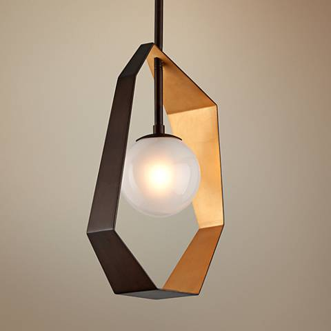 "Origami 11 1/2"" Wide Bronze LED Mini Pendant"