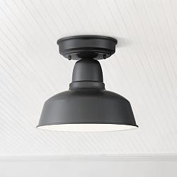 "Urban Barn 10 1/4"" Wide Black Outdoor Ceiling Light"