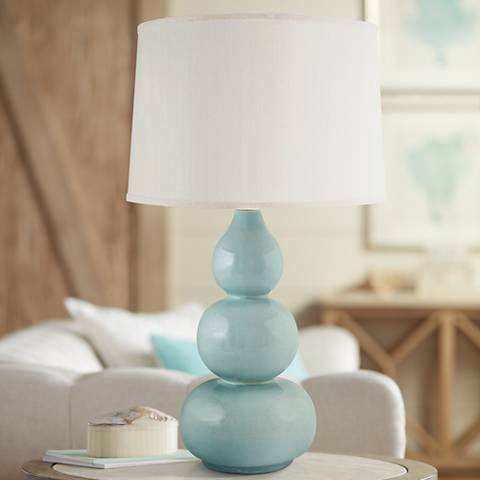 RiverCeramic® Triple Gourd Gloss Mist Gray Table Lamp