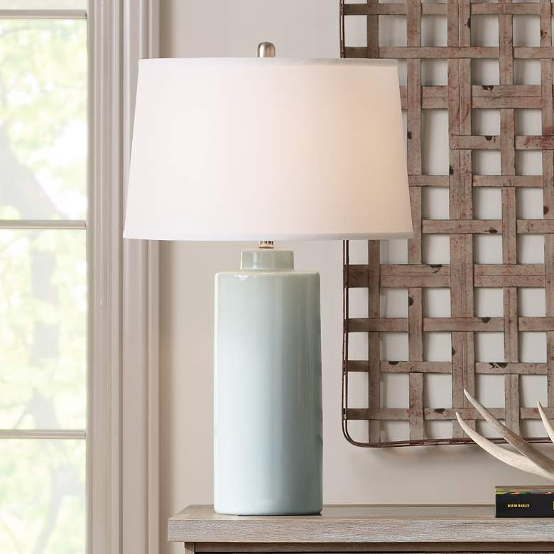 RiverCeramic® Cylinder Gloss Mist Gray Table Lamp