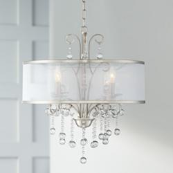"Possini Euro Perry 22"" Wide Bright Nickel 4-Light Chandelier"