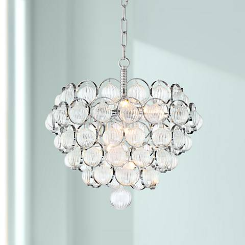 "Possini Euro Span 18"" Wide Chrome 6-Light Pendant Chandelier"
