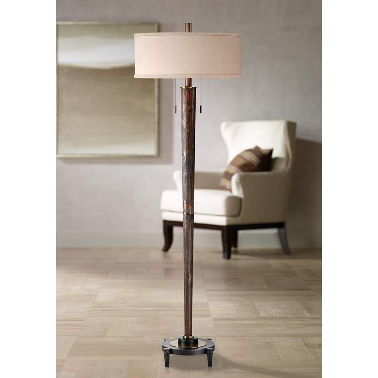 Uttermost Rhett Burnished Oak 2-Light Hardwood Floor Lamp