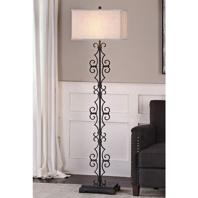 Uttermost Adelardo Rust-Bronze Flourish Iron Floor Lamp
