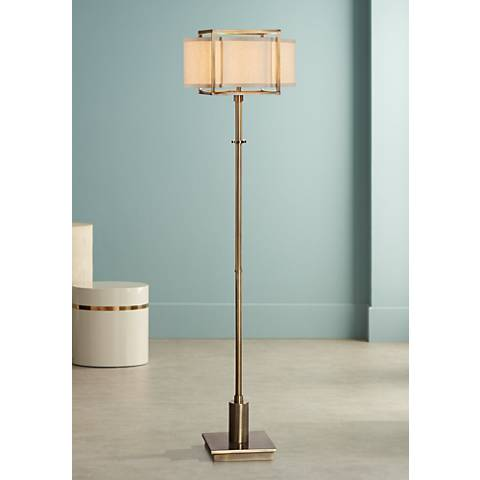 "Uttermost Bettino 62 1/4"" High Antique Brass Floor Lamp"