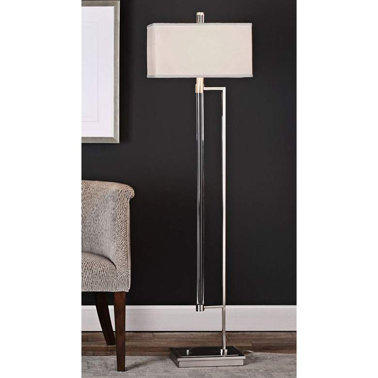 "Uttermost Mannan 64 1/4"" High Acrylic and Nickel Floor Lamp"