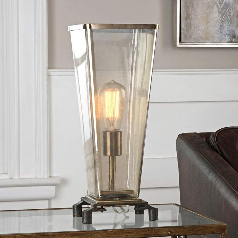 Uttermost Emidio Dark Rust Bronze Tapered Hurricane Table Lamp