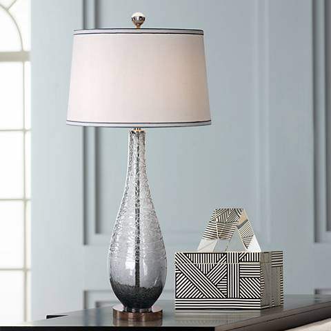 Uttermost Serano Charcoal Gray Sugar-Spun Glass Table Lamp