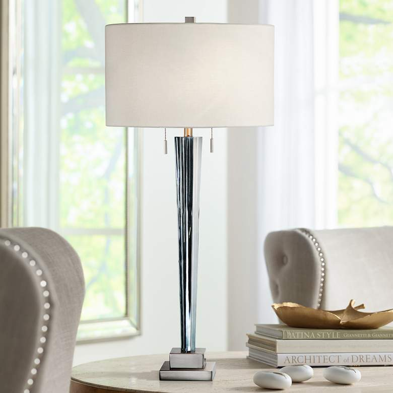Afna Translucent Blue Fluted Glass Table Lamp by Uttermost