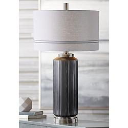 Uttermost Akila Dark Charcoal Hand-Etched Glass Table Lamp