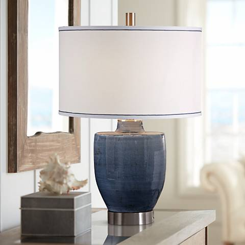 Uttermost Sylvaine Crackle Blue Gray Ceramic Table Lamp