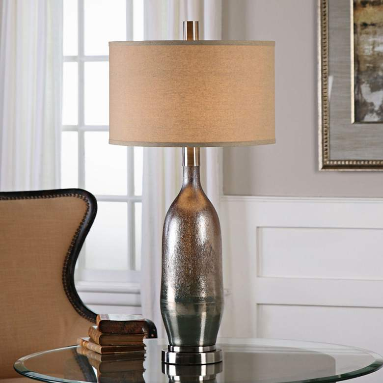Uttermost Basola Olive Gray Organic Glass Vase Table Lamp
