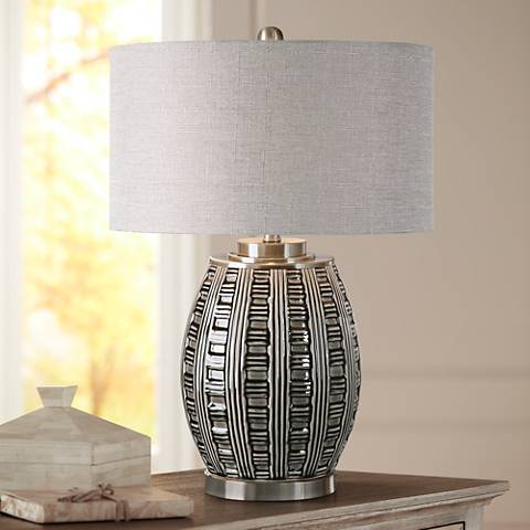 Uttermost Aura Smoke Gray and Ash Black Ceramic Table Lamp