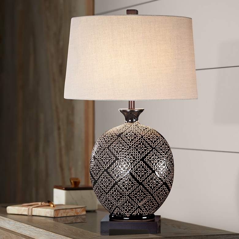 Uttermost Kelda Gloss Black Tribal Ceramic Jug Table Lamp