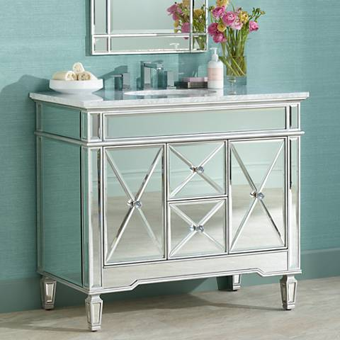 "White Carrara Marble 40"" Wide Mirrored Single Sink Vanity"