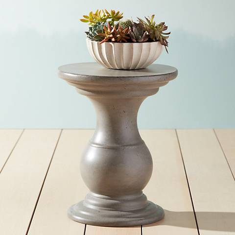 Reina Round Gray Concrete Indoor-Outdoor End Table