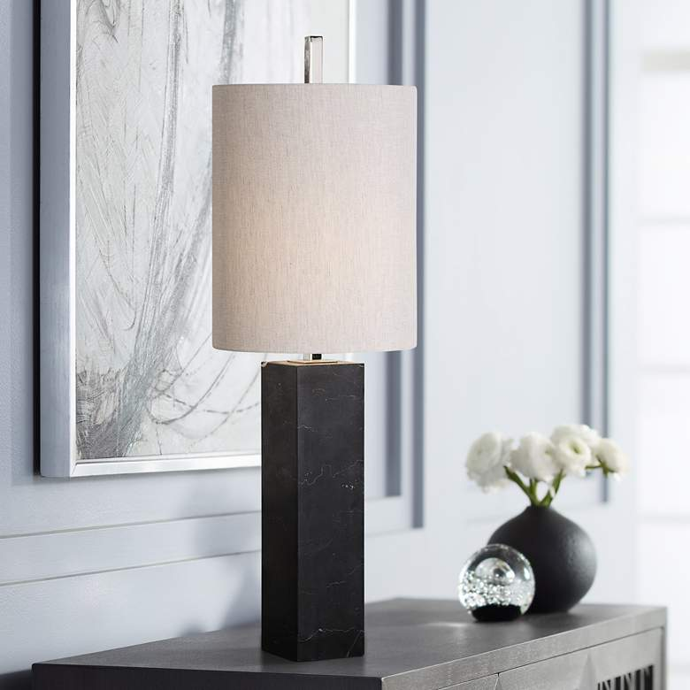Uttermost Delaney Black Marble Square Column Table Lamp