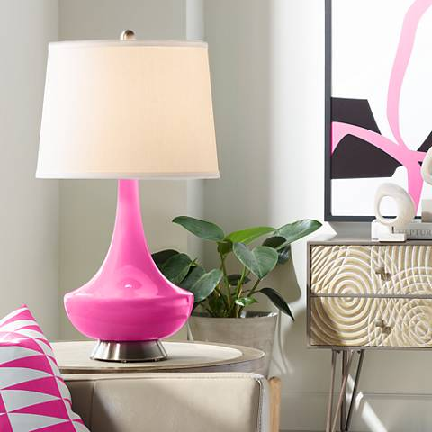 Fuchsia Gillan Glass Table Lamp