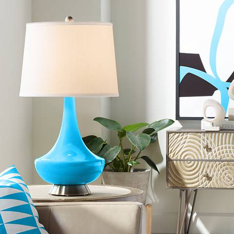 Sky Blue Gillan Glass Table Lamp