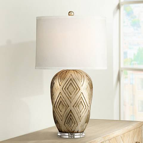 Possini Euro Rhombus Gold Wash Table Lamp