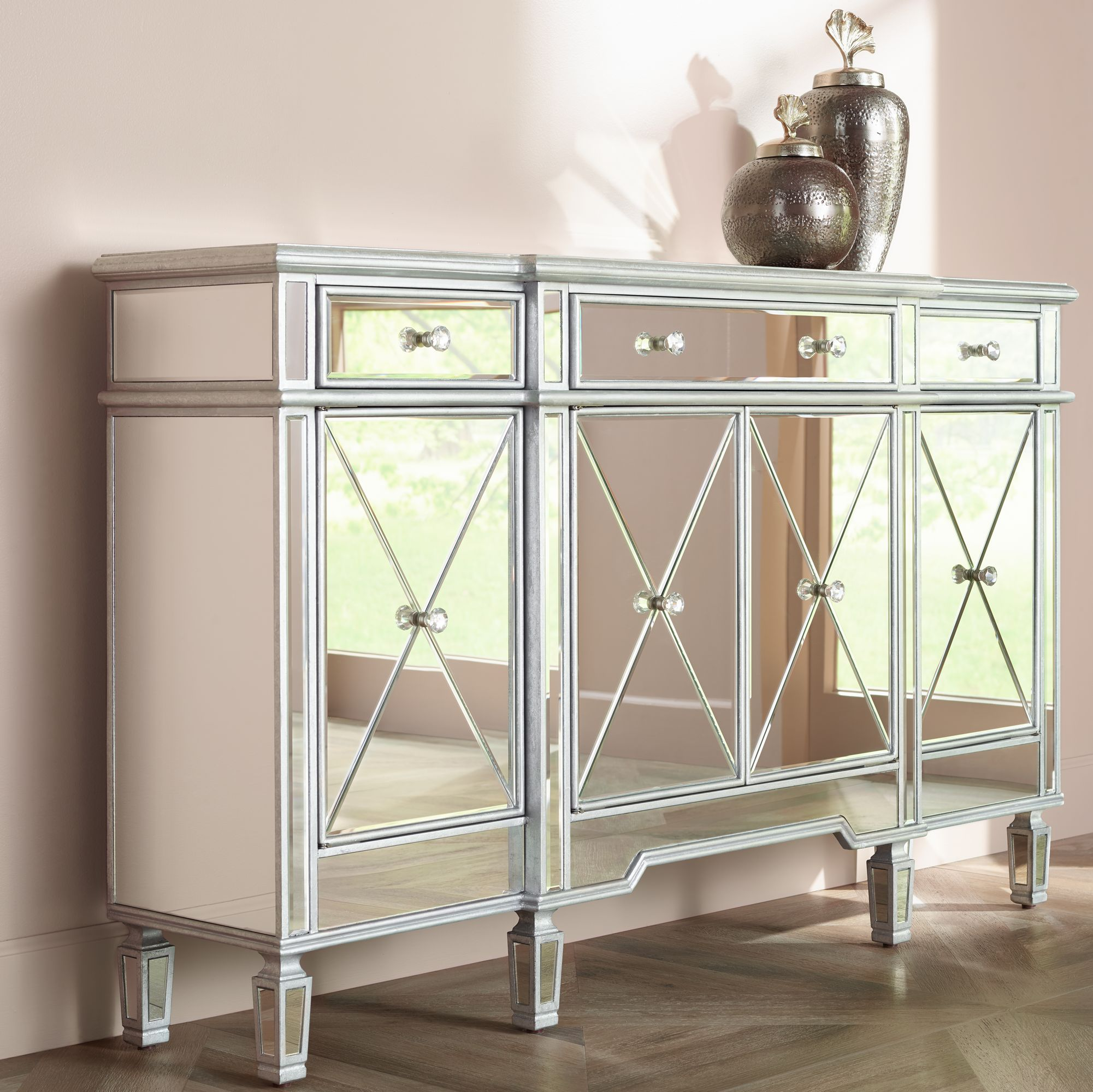 Exceptionnel Cablanca 4 Door 3 Drawer Silver Accent Cabinet