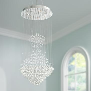 "Cita 25"" Wide Chrome and Crystal 7-Light Chandelier"