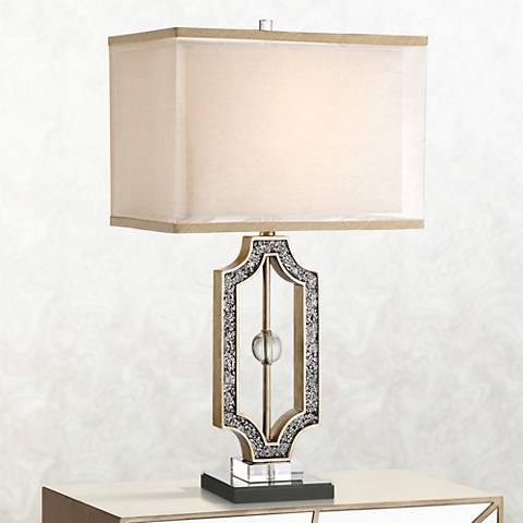 Possini Euro Chantal Crackle Mirrored Table Lamp