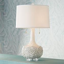 Possini Euro Natalia White Floral Table Lamp